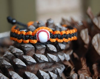 Orange and Black Baseball Bracelet /  Trendy Baseball Mom / Baseball Team / Gift Exchange / Goody Bag / Sports Jewelry / Sports