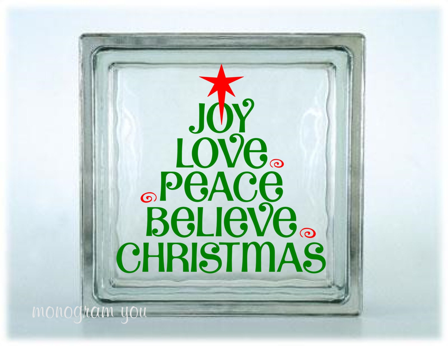 Christmas Glass Block Decal Christmas Vinyl Decal Joy Love - How to make vinyl decals for glass blocks