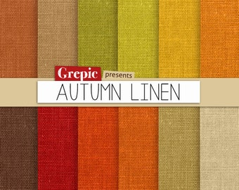 """Autumn linen digital paper: """"AUTUMN LINEN"""" with linen backgrounds and textures in autumn / fall colors red, orange, green, brown and beige"""