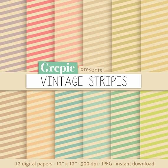 Stripes Digital Paper Vintage Stripes Patterns