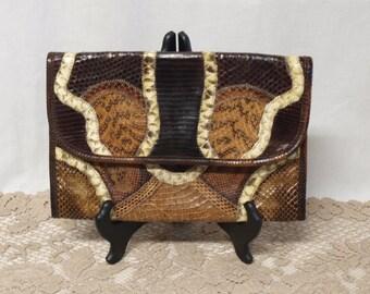 Varon snakeskin lizard reptile clutch purse w/gold chain