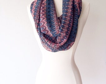 Multi-Colored Lightweight Chiffon Infinity Scarf - Handmade - For Her, Spring Fashion, Mother's Day, Summer