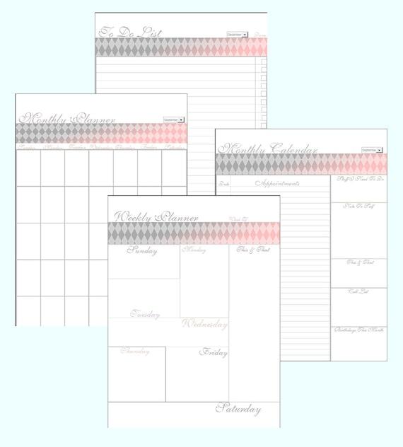 Editable Weekly Calendar : Monthly calendar editable planner weekly