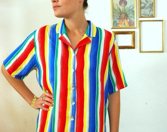 Vintage 80's Colorful Stripes Shirt