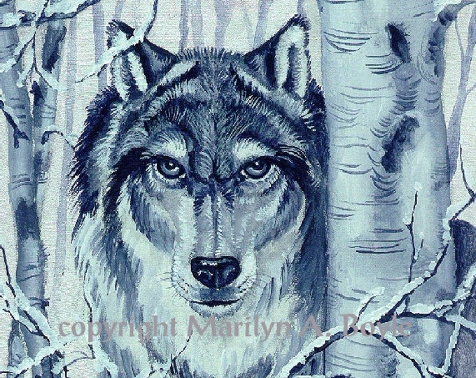 PRINT - WOLF - MATTED; Grey wolf, wildlife, 11 x 14 inches, forest, trees, birch trees, Canadian art