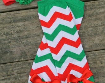 Christmas Leg Warmer and Heaband Set, Christmas Chevron, Red and Green Chevron Leg Warmers, Newborn leg warmers, baby leg warmers
