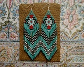 Long Beaded Fringe Earrings Native American Inspired