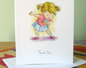 Girl with Flowers 6 thank you cards with envelopes / blank inside / cute note card original art by Kathe Keough