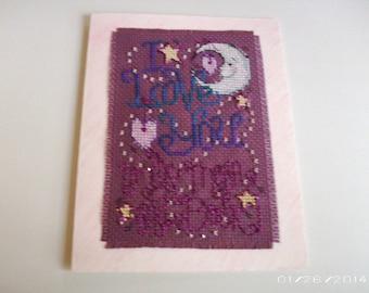 I Love You, Greeting Card, Valentine Cross-Stitch Greeting Card