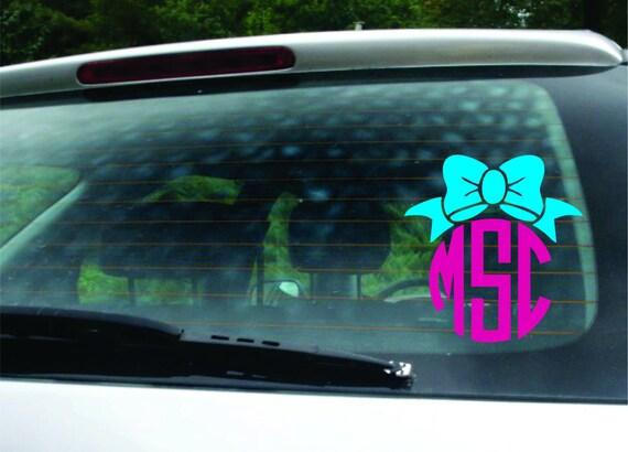 Monogram Sticker With Bow Vinyl Bow Monogram Decal For Cars - Monogram decal for car window