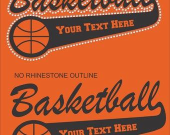 Vinyl Rhinestone Personalized Basketball Mom Team Name Mascot Hoodie Sweatshirt