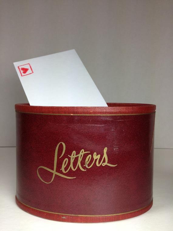 Vintage letter holder small oval oxblood gold mail by for Vintage letter holder desk