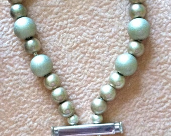 Silver Frosted Beaded Bracelet