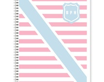Collegiate Stripe Monogrammed Spiral Notebook, Personalized School Supplies
