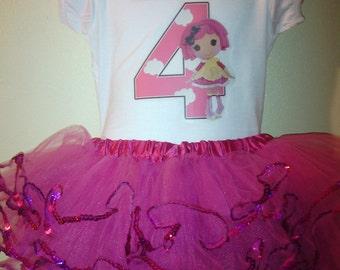 Lalaloopsy Birthday Dress 2 Pc Tutu outfit 1T,2T,3T,4T,5T,6T,7T