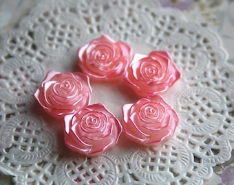 pink resin rose 18mm vintage pink cabochon pearly flower flat backjewellery cute decoration embellishment scrapbooking
