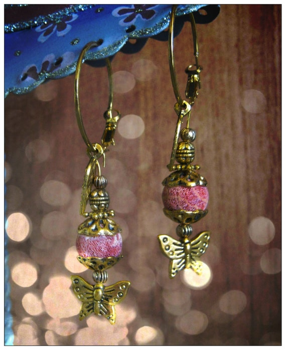 Handmade Gold Earrings with Bubble Coral, Butterfly & Leaf by IreneDesign2011