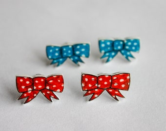 Polka Dot Bow Post Earrings