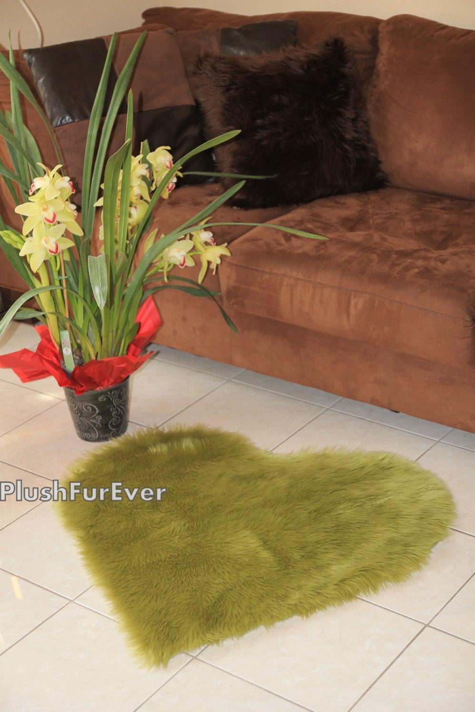 Olive Green Heart Shape Faux Fur Rug Valentines Gift Living Room Fur Area Rug