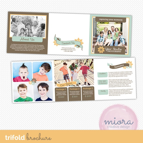 5x5 trifold brochure template with about me mini session for Mini brochure template