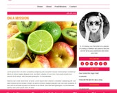Wordpress Theme, Responsive, Wordpress Blog Template, Genesis Child Theme, Clean, Health, Food, Orange & Pink, Pink Passion Fruit