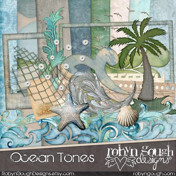 Beach Digital Scrapbooking Kit Ocean Tones By Clikchicdesign