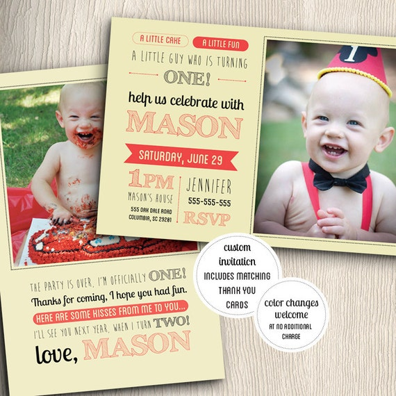Items Similar To One Year Old Birthday Party Invitation
