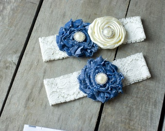 Ivory and Denim Wedding Garter Set, Bridal Garter, Wedding Garter, Shabby Chic Garter, Satin Garter