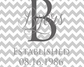 Chevron Monogramed 8x10 Printable Wedding Gift - DoWhatMakesUHappy
