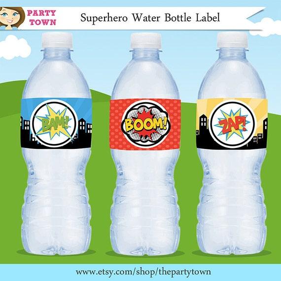 items similar to superhero water bottle labels    superhero