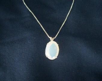 Opalite Opal Pendant in Sterling Silver 18x13mm oval