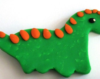 Polymer Clay Dinosaur Magnet, Clay Dinosaur, Animal Magnet, Clay Magnet, Fridge Magnet, Dinosaur Magnet, Polymer Clay Green Fridge Magnet