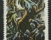 """Sherlock Holmes & Sir Henry """"The Hound Of The Baskervilles"""" -Handmade Framed Postage Stamp Art 5486"""