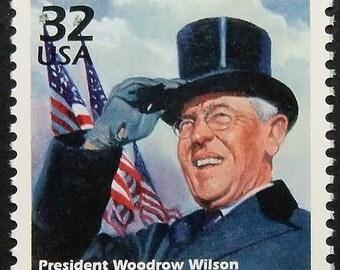 President Woodrow Wilson USA -Handmade Framed Postage stamp art 9762