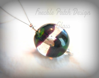 Flameworked Glass Bead, Lampwork, Purple and Green
