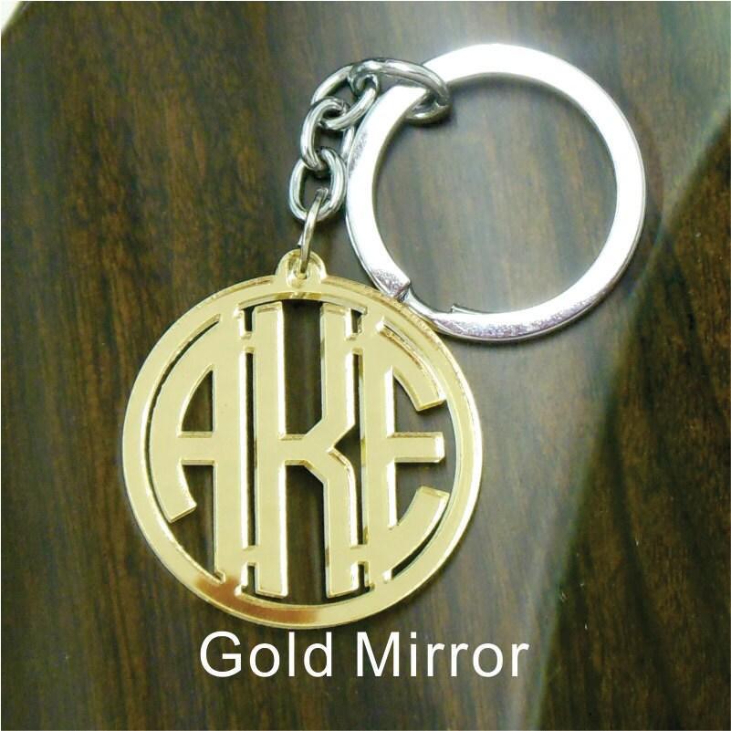 acrylic monogram keychain gold mirror custom circle monogram