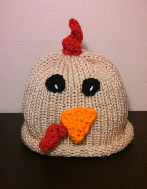Newborn Crochet Chicken Hat Pattern : Chicken Rooster Hat newborn crochet hat baby boy girl knit hat