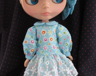 Blythe Doll Outfit Long Sleeve Flower Print Lace Dress