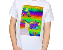 Psychedelic Glitch Cat T-Shirt , DMT Kitty Trippy Clothing, Stoner Shirt Graphic Tee