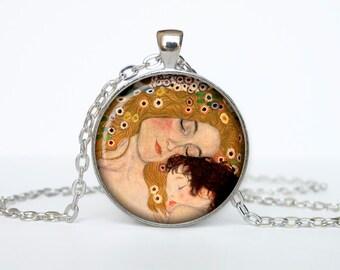 Mother and Child necklace Gustav Klimt pendant Gustav Klimt jewelry vintage style