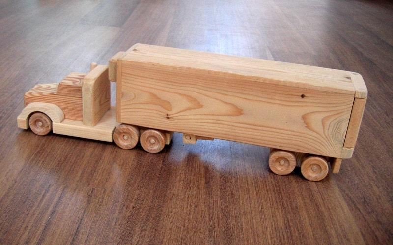 Toy Semi Tractor : Jeffery the refrigerator wooden toy truck a semi trailer