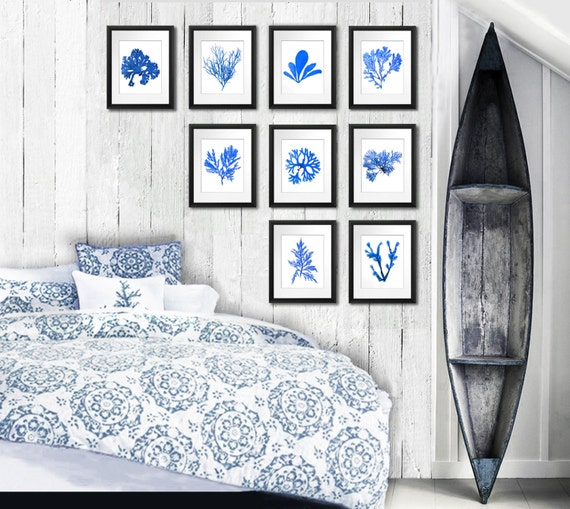 Set Of 9 Ocean Blue Seaweed Botanical Prints 8x10 Bedroom