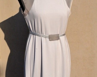 Women Elegant Grey Jersey Dress with Stripes Shoulders and Lower Back Belt Included