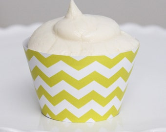 INSTANT DOWNLOAD – Printable Yellow Chevron Cupcake Wrapper – Printable Cupcake Wrappers