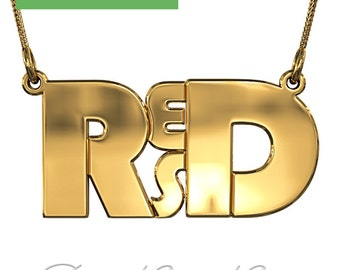 """4 Letter Monogram Necklace in 18k Gold Plated Silver (1.0mm thick) - """"RESD"""" design"""