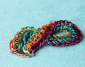 Rainbow Stripe chain maille bracelet - vertical