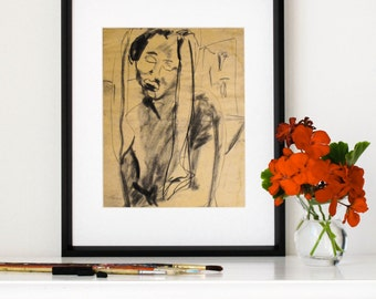 "Charcoal Drawing, Giclee Print, Black Woman, Expressive, Sad, Portrait Sketch, Figure, Distressed, Aged, Art, Old, 8""X10""-""Sorrowful Saint"""