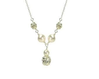 Oh So Chic Bridal Wedding Pearl & Crystal Necklace wedding jewellery, bridal jewellery, pearl necklace, bridesmaid necklace, Occasion, Gift