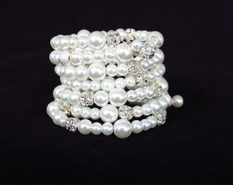 Bridal Cuff Bracelet Pearl Bridal Jewelry Chunky Pearl Bracelet Pearl Cuff Bracelet Crystal and Pearl Bracelet Pearl Bridesmaid Jewelry