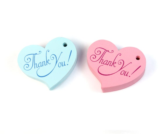 baby shower favor tags heart thank you tags pink and blue